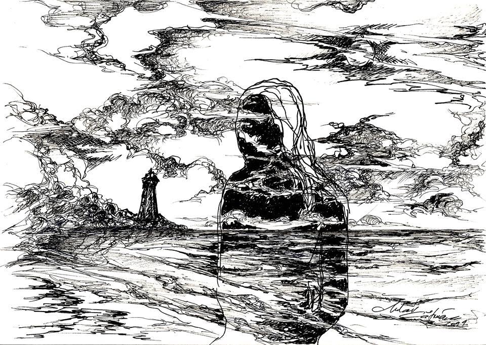 Desen grafic realizat de artistul Mihai Catruna