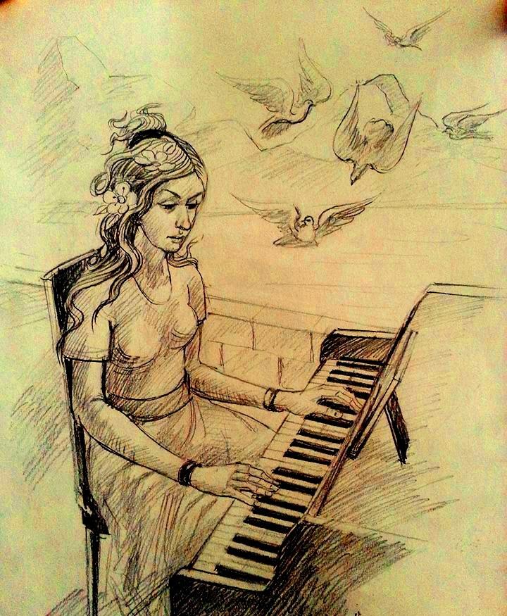 Desen grafic realizat de artistul Vasile Aionesei